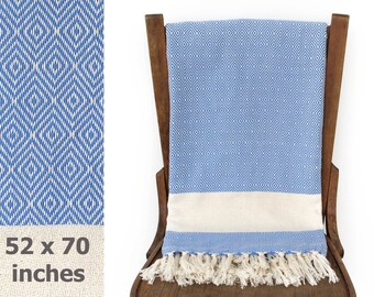Cotton Throw Sofa Cover Throw Blanket Handwoven Cotton Furniture Throw Turkish Towel Bath Sheet DREAMSCAPE Blue X LARGE 130 x 180 cm