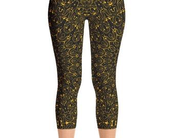 Capris Amber Yoga Pants, Black Leggings with Yellow Mandala Designs for Women, Printed Leggings, Pattern Yoga Tights