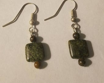 Green Square Earrings