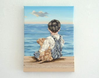 Acrylic Painting, Beach Artwork with Seashells and Wood, Little Boy & Puppy in Seashells and Wood, Mosaic Art, 3D Art Collage, Home Decor