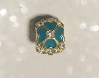 Turquoise Flower Rhinestone Bead Spacer for Big Hole Beads