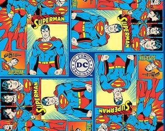 DC Comics Superman Man of Steel Superhero Quilt Cotton Fabric