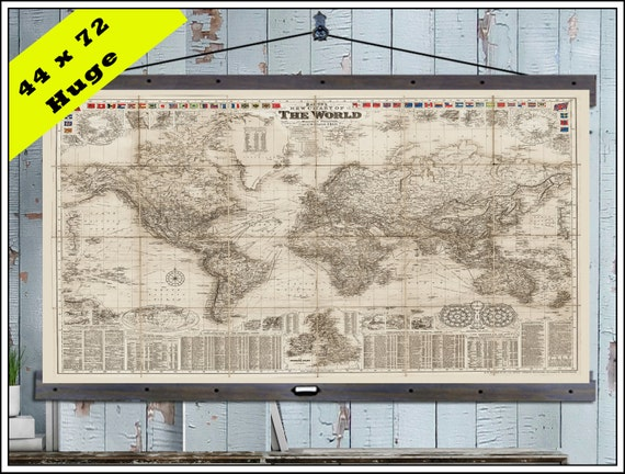 New pull down map or hanging map world map on canvas 1908 like this item gumiabroncs Images