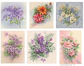 Flowers 1 Digital Collage from Vintage Greeting Cards - Instant Download - Cut Outs