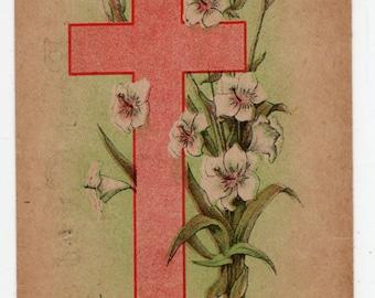 Easter vintage postcard, Easter Greetings Vintage Postcard, Easter Lilies,  antique postcard