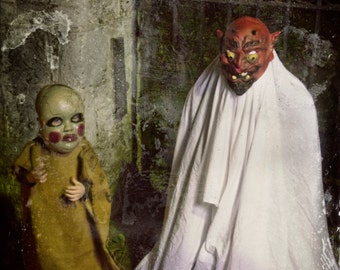 Vintage inspired creepy Halloween costume photography with monsters/ghouls/ghosts
