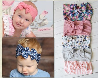 You pick QT, Nylon Bow Headwrap, One size fits all headbands, wide nylon headbands, Wholesale nylon headbands, CLASSIC Knot Nylon Headwrap