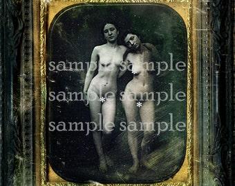 COLLAGE SHEET Instant Digital Download Victorian Risqué Daguerreotype  Vintage Nude Twins Sisters Erotic Lesbian Photograph Art Print