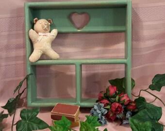 Green Open Wooden Curio, Green Shabby Chic Curio,  Small Knick Knack Shelf