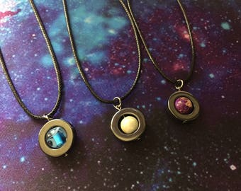 Planet Fidget Necklace / Spinning Saturn, Neptune, & Jupiter Fidget Pendants / Stim Planet Necklace / Hematite Disc