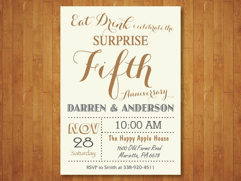 Surprise Wedding Anniversary Invitations: Surprise 50th Wedding Anniversary Invitation. Fifth