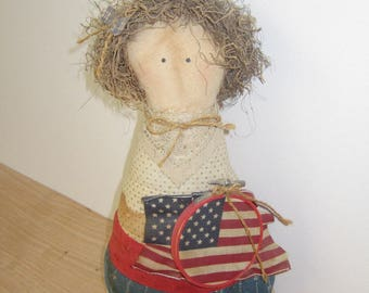 Vintage Patriotic Doll.  Soft Decor 4th of July. Americana Country Soft Doll with Flag.