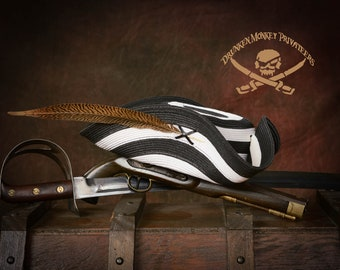 Black and White Pirate Tricorn Hat, Straw Hat, Pirate Tricorn, Pirate Hat
