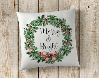 Merry & Bright Pillow Cover, Christmas Pillow Cover, Holiday Pillow Cover, Christmas Decor, Christmas Wreath, Farmhouse Decor, Pillow Cover