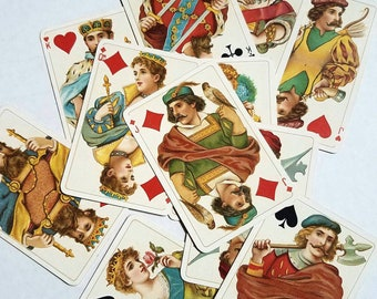 Partial Dondorf Rokoko Deck. No. 158. Rococo. 11 face cards + 4 aces.  German playing cards. Frankfurt. Card decks.