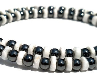 Black and White Necklace, Heishi Shells and Hematite Gemstones, Men and Women, Custom Orders Welcome