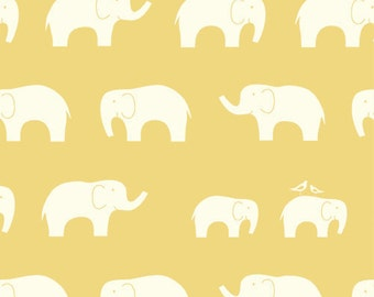 HALF Yard Ellie Fam Sun, Birch Organic, Mod Basics, Yellow Elephants, Modern Fabrics, More Available