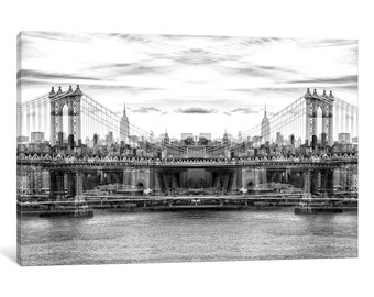 iCanvas New York Reflection - Manhattan Bridge - BW Gallery Wrapped Canvas Art Print by Philippe Hug