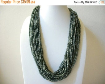 ON SALE Vintage Silvery Green Glass Beads Necklace 8916