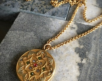 """VICTORIAN ART NOUVEAU W H & Co. 14K G. F. Repoussé Suffragette Multi-Color Crystal Locket /Antique 14K Gold Filled 27"""" Chain / One of A Kind"""