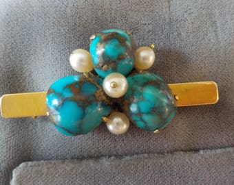 14K Gold & 925 Silver and Turquoise Vintage Brooch with Matching Earrings