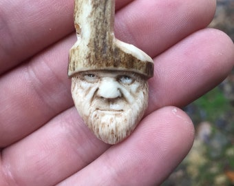 Bone Pendant, Antler Art, Necklace, Face Carving, Hunting, Beard, Birthday Gift, Gift for Him, Unique Sculpture, Hand Carved, Rustic Art