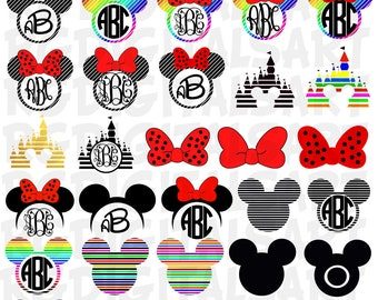 DISNEY Svg BUNDLE Files Svg Disney Minnie Svg Mickey & Mouse Ears Disney font, Monograms, Mickey Mouse Cut Files, Cricut, Silhouette. 8000