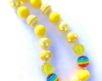 Gold at the end of the rainbow necklace. Sweet summer little girls necklace. Colorful bubblegum bead necklace. Rainbows.