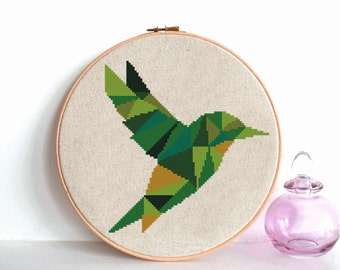Modern Geometric Hummingbird cross stitch pattern, Nursery animal design, bird counted cross stitch chart, Nature hoop art