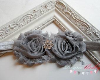 Baby Headband - Gray Silver Headband - Newborn Headband -Toddler Headband - Photo Prop Flower Girl Grey
