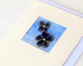 Card handmade mini picture recycled cute velvet flowers
