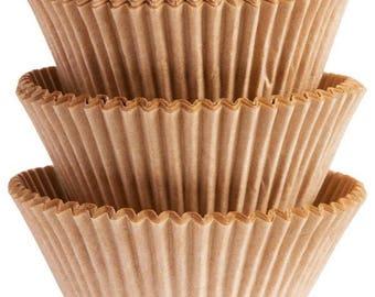 100 Ct Mini 1 1/4 Inch Natural Kraft Paper Baking Cups - Cupcake Liners - Mini Cupcake Cups - Natural - Rustic - Unbleached