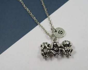 "Monkey necklace - personalized 3 monkeys symbol gift - monkeys lovers - 3 monkeys symbol - necklace 3 monkeys ""wisdom-see-hear"""