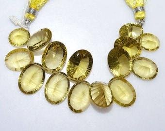 """1 Strand Natural Lemon Quartz Concave Cut Oval Shape Beads - Faceted Concave Cut Briolette , 10x12 - 13x18 mm , 4"""" , BL2690"""