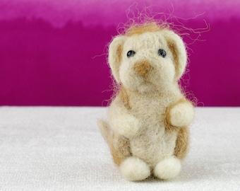 Small needle felted puppy, merino wool and alpaca.