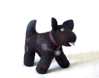 Dog stuffed animal, fluffy toy, furry toy, cuddly toy, soft toy, wet felted, Baby shower gift, handmade, custom
