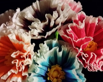 1.50 Each, 12 Mexican Crepe Paper Flowers, Cinco De Mayo, Wedding, Birthday, Baby Shower, Decoration, Paper Flowers, Purple, Orange, Red