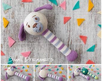 Dog rattle Crochet rattle Baby rattle toy Crochet toy Baby gift Organic teether Cotton yarn Baby Shower gift Baby teething toy Newborn gift