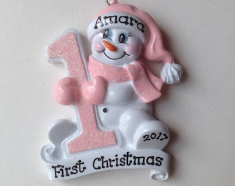 33% Off Pink Snowbaby,Personalized Baby Girl's First Christmas Ornament Gift Newborn, 1st Birthday ,Birth Announcement , Christening Favors