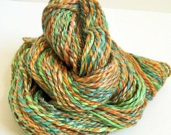 "Handspun Yarn -- ""Emerald Bay"" -- merino / tencel -- 120 yards worsted weight"