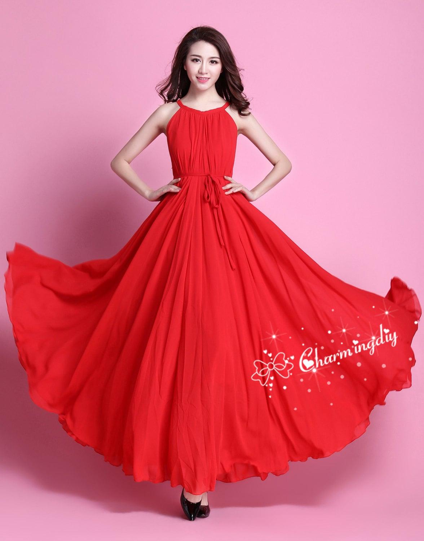 60 colores gasa rojo largo partido vestido noche boda ligero
