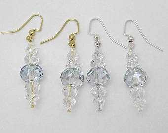 Crystal Bead Silver or Gold Earrings