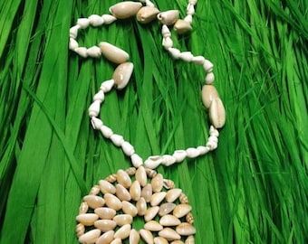 Cowrie With White Dove Shells Necklace. Authentic Sea Shells Necklace.