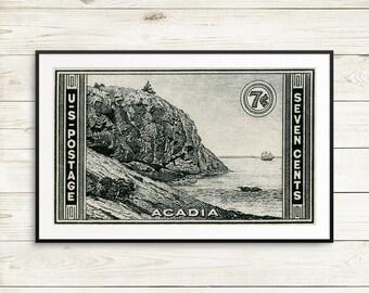 Acadia National Park Poster, vintage national park posters, national park travel posters, US postage stamp art prints, Vintage Acadia Park