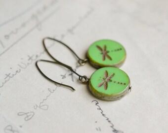 Mint Green Dragonfly Antique Earrings / Czech Glass Beads / Brass / Neo Vintage Jewelry