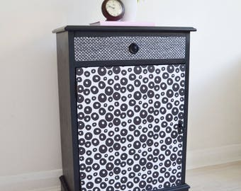 Nightstand - Cabinet - Funky Black & White  Cabinet With Draw + Shelf - Night Stand Table - Bedroom Table - Funky Furniture - Decoupage