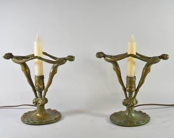Pair Of Frankart Style Art Deco Mantle Buffet Lamps Figural Women