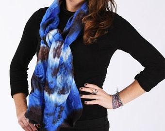 Multicolored scarf - Bright Blue with Chocolate Brown color - Wool and Silk - Hand dyed batik