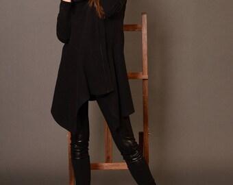 Wool Coat, Winter Coat, Asymmetrical Coat, Hooded Coat, Black Coats Women, Womens Wool Coat, Winter Jacket, Black Hoodie, Danellys D17.07.01