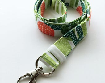 Lanyard - lanyards - cactus lanyard - cute lanyard - cactus print - ID badge holder - key fob - key lanyard - key holder lanyard